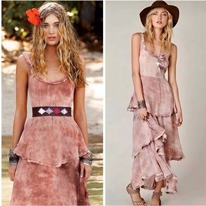 New Romantics Hippie Trip Tiered Pink Maxi Dress M